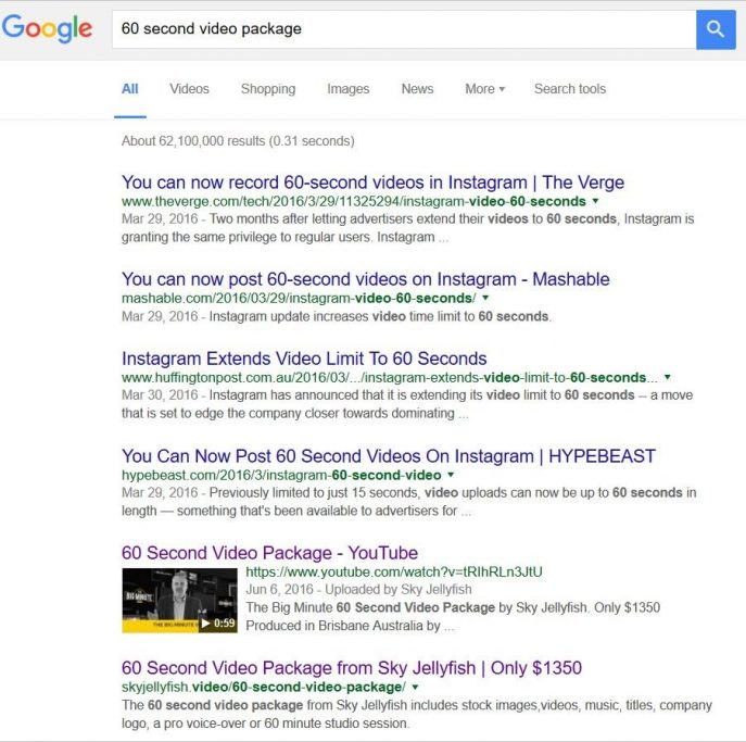 Google Search Results Video SEO